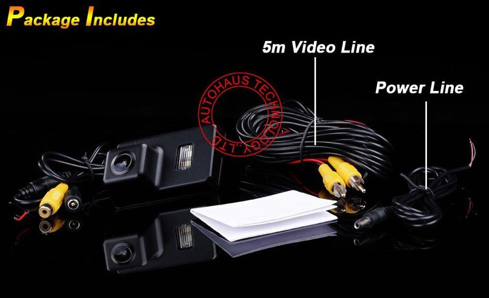 Kalakass Telecamera Auto HD Telecamera 170 Gradi Visione Notturna Retromarcia Auto Retrocamera per Peugeot 206 207 306 308 307 406 407 5008 Partner Tepee backup