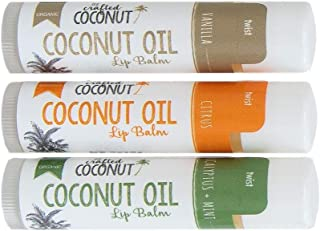 Organic Coconut Oil Lip Balm, Blended with Essential Oils - Eucalyptus + Mint, Vanilla, Citrus | Trio (3 Tubes in Pack)