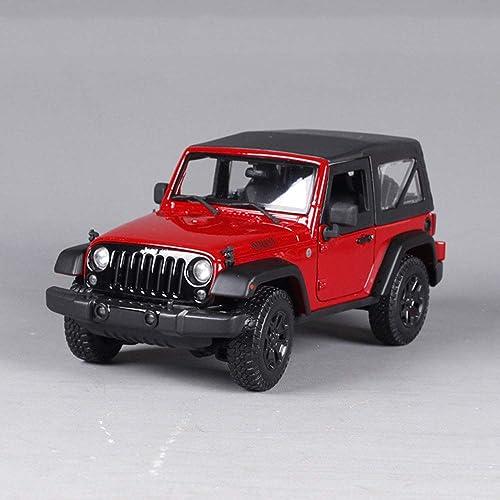 LUCKYCAR Modellauto 1:18 Jeep Willis SUV Wrangler, Der Kofürraum Motorraum kann ge net Werden,Aktivit tor, Verh nis 1 18,Fertiges Modell,23 cm, rot