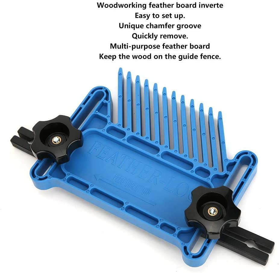 Square Feather Board B Style Blue Bordo di piume per utensili in legno Bordo di piume per lavori in legno Accessori per elettroutensili quadrati invertiti Scanalatura di smusso unica