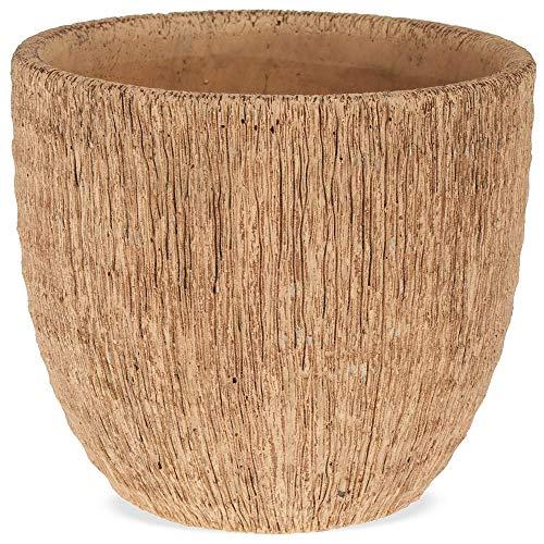 matches21 plantenpotten bloempotten keramiek groefstructuur kurk pot keramische potten 1 stuk bruin - in 2 maten 14 cm