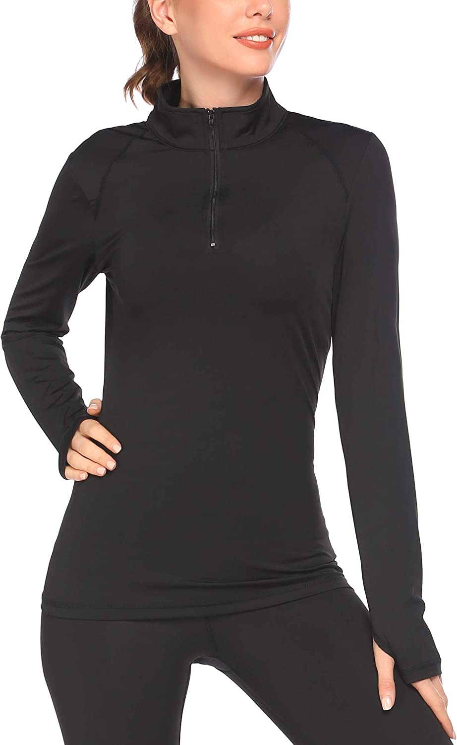 Pinspark Women's Los Angeles Mall Long Sleeve Stretchy Thumb Workout sale Hole Sports