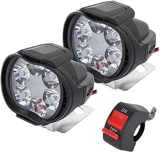 2 Stück Universal Scheinwerfer für Motorrad, wasserdicht, 6 LEDs, Motorrad Scheinwerfer, Nebelscheinwerfer, Nebelscheinwerfer, Roller, Scheinwerfer mit Schalter