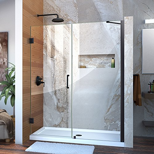 """DreamLine Unidoor Min 58 in. to Max 59 in. Frameless Hinged Shower, Clear 3/8 in. Glass Door, Satin Black Finish, SHDR-20587210-09, 58-59"""" W x 72"""" H, Brushed Nickel"""