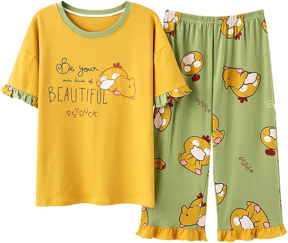 KINYBABY Big Girls Cotton Nightwear Short Sleeve Sleepwear Sets Rabbit Pattern Pajamas 2 Piece Nightie Sleep Shirt with Pants (Yellow,14-16 Years/Tag XXL)