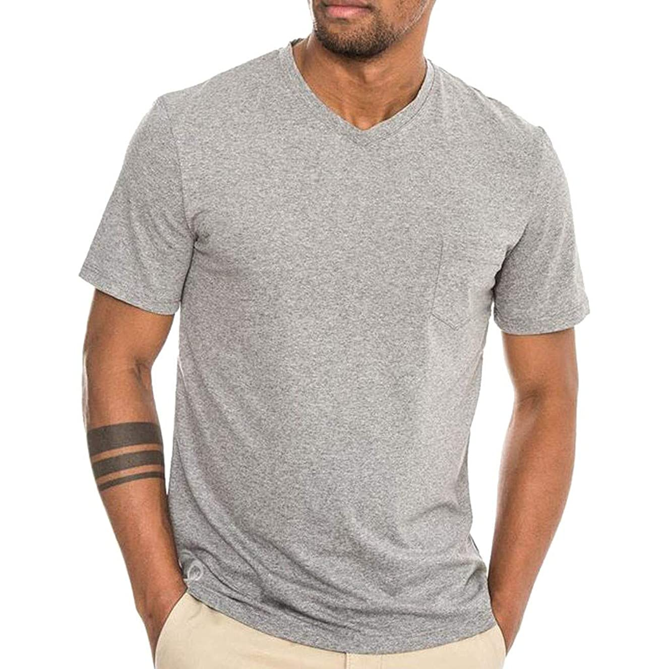 Men's Summer New Style Simple Pocket Plain Short Sleeve Fashion Comfortable Top