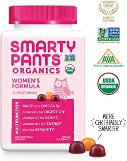 Daily Organic Gummy Women's Multivitamins: Biotin, Vitamin C, D3, E, B12, A, Omega 3 Fish Oil, Zinc, Selenium, Niacin, Iodine, Folate (Methylfolate), Thiamine by SmartyPants (120 Count, 30 Day Supply)