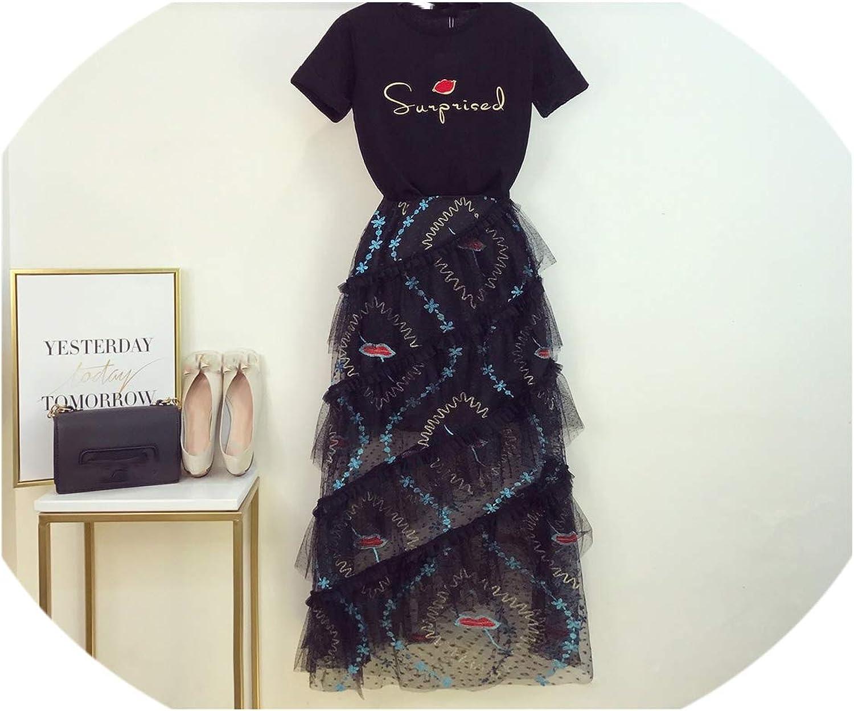 Enjoypeak New Long Dress Women Hong KongFlavored Embroidered TShirt + Black Mesh Skirt Womans TwoPiece Suit