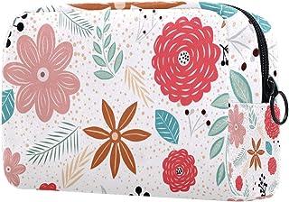 Flowers Pattern Makeup Bag Toiletry Bag for Women Skincare Cosmetic Handy Pouch Zipper Handbag