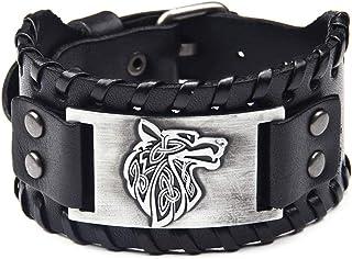 Jurxy Braided Rope Alloy Bracelet Punk Bangle Wristband Mens Leather Cuff Bracelet Wristbands Wide Cuff Leather Wrap Adjus...