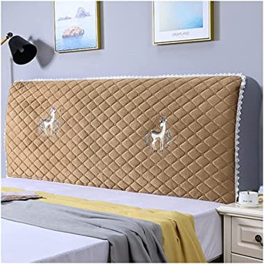 Thicken Headboard Cover Super Soft Comfotable Short Plush Bed Head Slipcover with Stretch Side and Pocket Dustproof Cotton Co