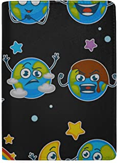 Earth Planet Expressing Emotions Emojis Blocking Print Passport Holder Cover Case Travel Luggage Passport Wallet Card Holder Made with Leather for Men Women Kids Family