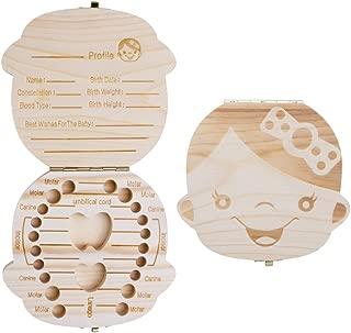 ELENKER Baby Teeth Box Save Wooden Boxes Deciduous Souvenir Box, Child Keepsake Holder Organizer Girl Perfect Gift for Couples