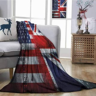 SONGDAYONE Travel Throwing Blanket Alliance Togetherness Theme Composition of UK and USA Flags Vintage Digital Printing Blanket W70 xL84 Navy Blue Red White