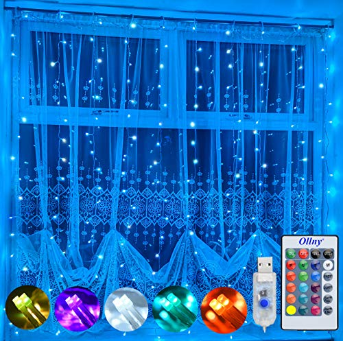 Ollny Curtain Fairy Lights USB Powered, 2m x 2m 180 LED 16 Color Changing Christmas String Lights with Remote Control & Timer for Bedroom, Indoor, Wedding, Outdoor, Party