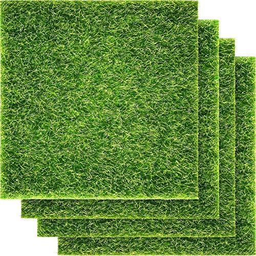 Pangda Kunstrasen, lebensechter Feen-Kunstrasen, 15,2 x 15,2 cm, Miniatur-Ornament, Garten, Puppenhaus, DIY-Gras (4 Packungen)