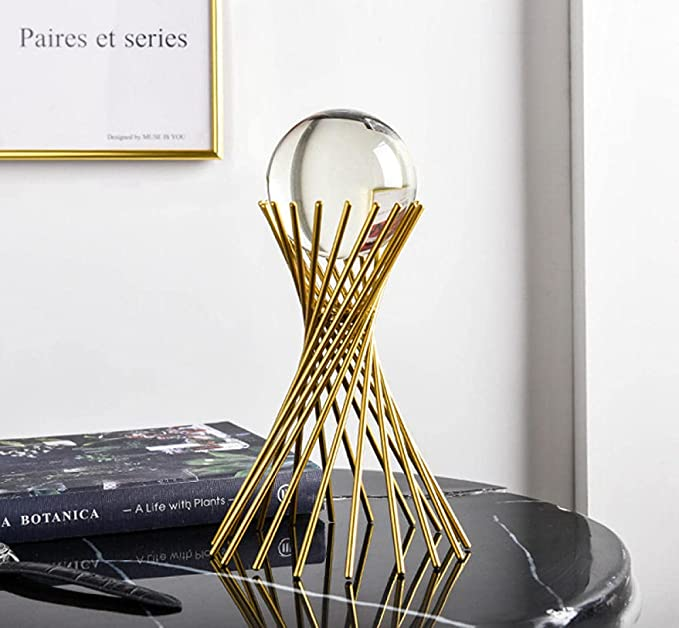 ZPCBPA Golden Luxury Modern Metal Crystal Ball Crafts Ornament Living Room Home Decoration Accessories