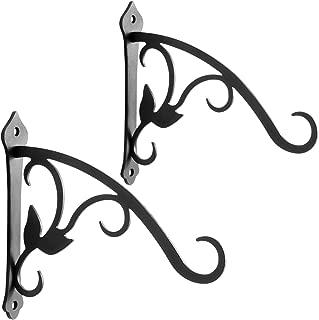 VEEBOOD 2 Pcs 6-Inch Decorative Iron Lantern Hooks for Wall Hanging Mason Jar Sconces Outdoor Solar Lights, Black