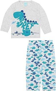 Pijama Infantil Menino Manga longa Cinza Estampa Dinossauro
