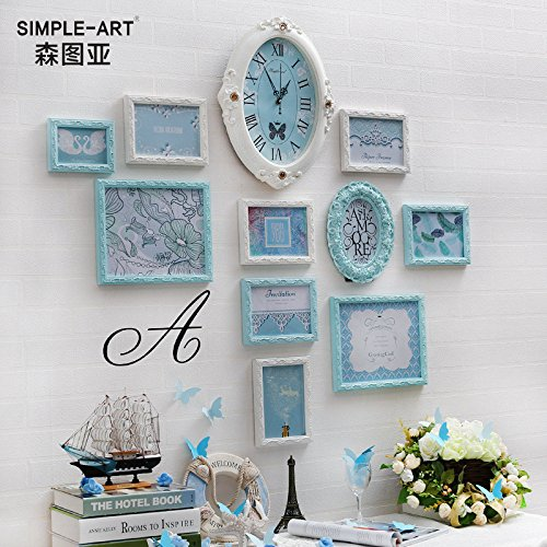 HJKY Photo Frame Wall Set Wall photos photo créative + mur coupe-feu châssis accroché au mur images combinaison créative de la Blue box de 11 heures bleu temps (vertical)