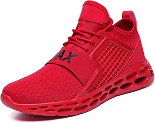 TSIODFO Men's Trail Running Shoes Lightweight Breathable Comfort Fashion Sneakers Youth Big Boys Tennis Shoes red Blue Black