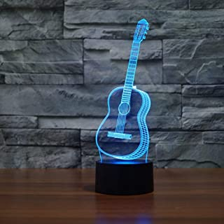 YKL WORLD 3D Illusion Lamp Guitar Night Light LED Desk Table Lamp 7 Color Changing Touch Sensor Nightlight with USB Cable for Bedroom Kids Birthday Gifts Music Lovers Decoration