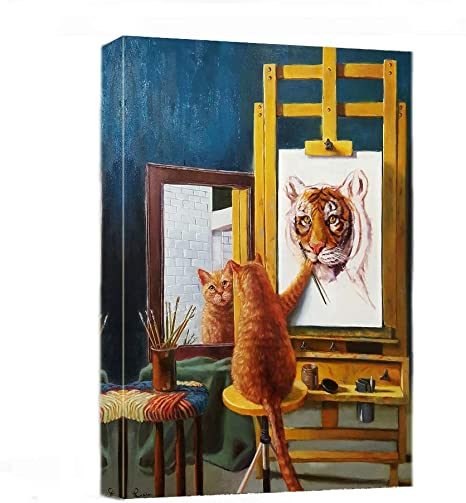 Canvas Wall Art Funny Cat Paint Tiger Painting Print 12 X 16 Modern Animal Canvas Print Artwork Stretched And Framed For Home Office Decor Posters Prints