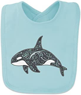 Killer Whale Orca with Waves Baby Bib - Blue