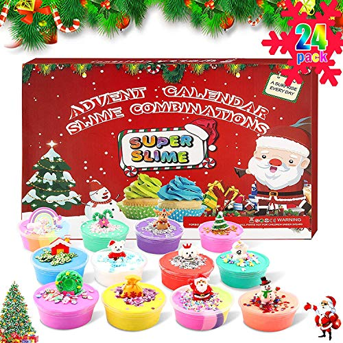 LIANGLIDE Slime Advent Calendar 2020 Christmas Countdown Toy for Children Christmas Calendar for Girls Boys 24 Toy Calendars, Great Surprises, Christmas Decor Theme