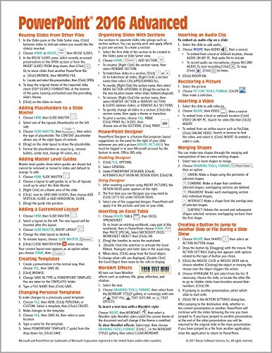 Microsoft PowerPoint 2016 Advanced Quick Reference Guide - Windows Version (Cheat Sheet of Instructions, Tips & Shortcuts - Laminated Card)