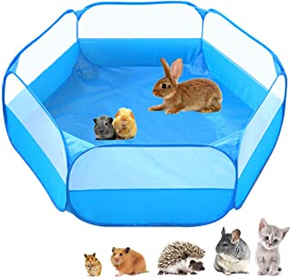 Small Animals C&C Cage Tent, Breathable & Transparent Pet Playpen Pop Open Outdoor/Indoor Exercise Fence, Portable Yard Fe...