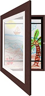 Americanflat Mahogany Kids Artwork Picture Frame with Shatter-Resistant Glass - Display Artworks Sized 8.5x11 with Mat and 10x12.5 Without Mat