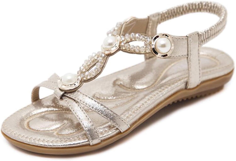Women's Summer Beaded Rhinestones Sparkling Bohemian Stretch Beach Sandals,Beige,38