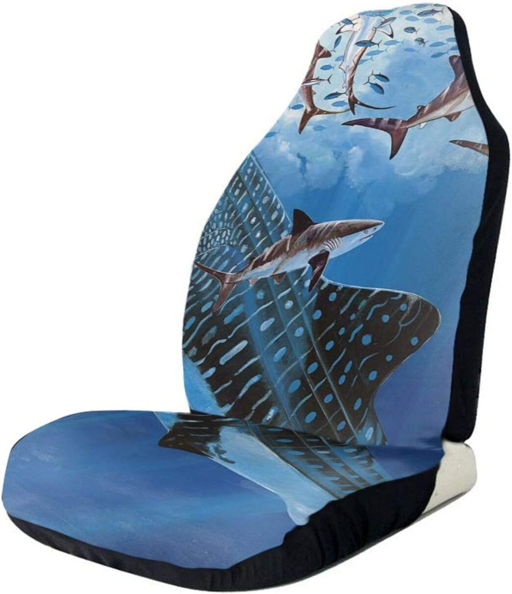 Art Whale Shark Grunge Car Seat Front Full Charlotte Mall Seats Only Buck Max 59% OFF Cover