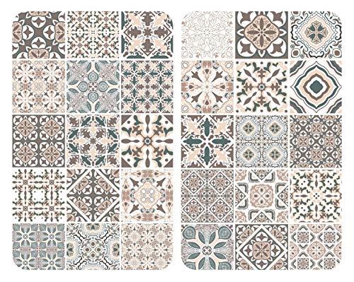 WENKO Plaques de protection en verre universel Carreaux - Set de 2, couvre-plaque de cuisson pour tous les types de cuisinière, Verre trempé, 3030 x 1.8-5.5 x 5252 cm, Multicolore