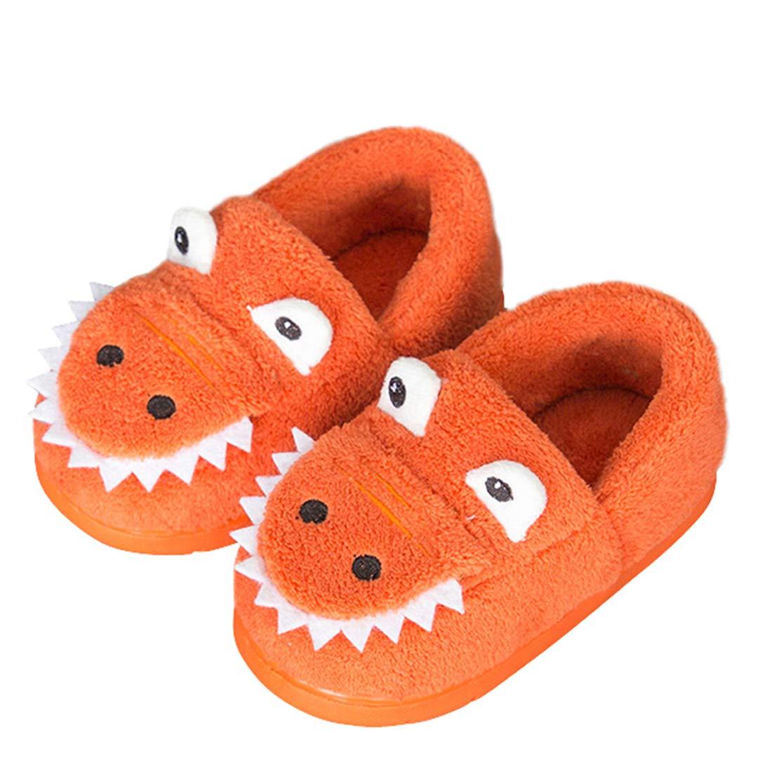 男童女童保暖恐龙小屋拖鞋幼儿毛绒室内卧室鞋
