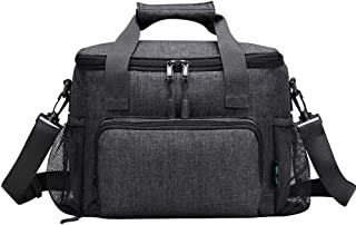 Mens Lunch Bag, 18 Cans Large Leak-proof Insulated Lunch Box, Soft Adult Big Lunch Bag with Shoulder Strap and Side Pocket for Work and Outdoor by F40C4TMP