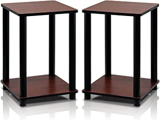 Furinno 2-99800RDC Turn-N-Tube End Table Corner Shelves, Set of 2, Dark Cherry/Black