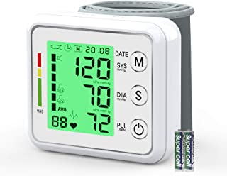 Automatic Wrist Blood Pressure Monitor, IVKEY Blood Pressure Cuff with Large Backlight LCD Display-BP Monitor, BP Cuff for Detecting Irregular Heartbeat-198 Memories, 2AAA and Carrying case Included