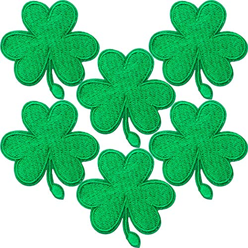 6 Packs Irish Clover Embroidered Patches St. Patrick's Day Clover Sewing on Patches Dark Green Embroidered Emblem Lucky Shamrock Iron Sew on Ireland Patch for Clothes Bag Hat Crafting Projects