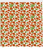 MLNHY Flower Shower Curtain, Orange Blossoming Calendula Flowers Digital Graphic Style Nature Composition, Cloth Fabric Bathroom Decor Set with Hooks, Green and Orange,72 X 72 Inches,Multicolor