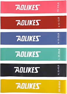 Resistance Bands Fitness Exercise Bands Loop Elastic Resistance Band Set of 6 for Legs and Butt Workout and Yoga (Color : Multi-colored)