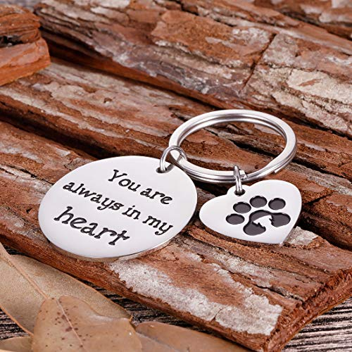 Pet Memorial Gifts Keychain for Pet Dogs Owner Dog Mom Dad Remembrance Memory Sympathy Gifts for Loss of Dog Pet Loss Gifts Keepsake for Dog Lover You are Always in My Heart Paw Print Keyring Photo #7