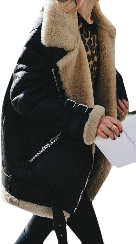 Papijam Women's Warm Suede Zipper Fleece Short Jacket Coat Outwear