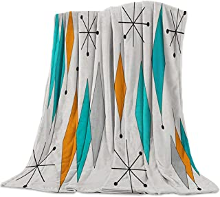 Europen Retro Prismatic Modern Mid Century Flannel Fleece Throw Blanket Home Decorative Warm Plush Cozy Soft Blankets for Chair/Bed/Couch/Sofa All Season Blanket for Child and Adults (60x80in)