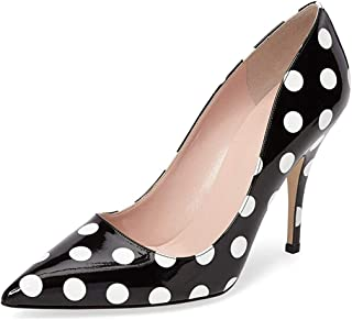 YDN Women's Chic Pointed Toe Mid Heel Pumps Polka Dots...