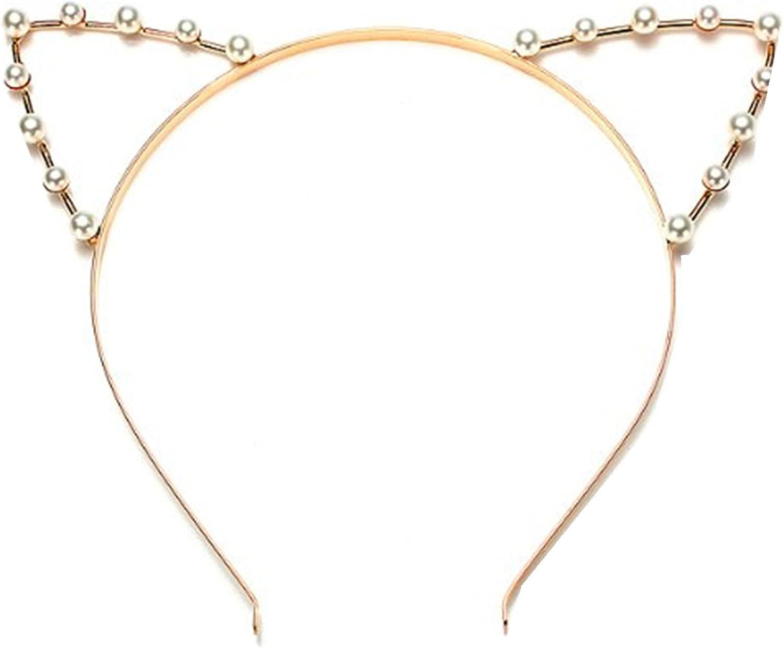 Wiipu Women Girls Cat Ears Faux Pearl Alloy Headband Hair Band Self Prop(wiipu-c128)