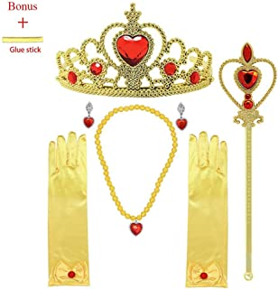 MISS FANTASY Princess Belle Dress up Accessories for Girls Cosplay Queen Jewelry Set Good for Halloween Party Girls Birthday Party Pack Include Tiara Wand Gloves Necklace Earrings Set of 6
