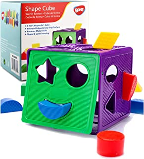 BOHS Geometric Shape Sorting Cube Baby Toys, with 18 Shapes and 1 Cube