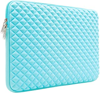 RAINYEAR 15 6 Inch Laptop Sleeve Diamond Foam Shock Resistant Neoprene Padded Case Fluffy Lining Zipper Cover Bag Compatible with 15 6  Notebook Computer Ultrabook Chromebook Blue